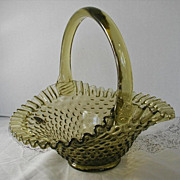 Fenton Olive Green Glass Hobnail Ruffled Basket Vintage Original Label