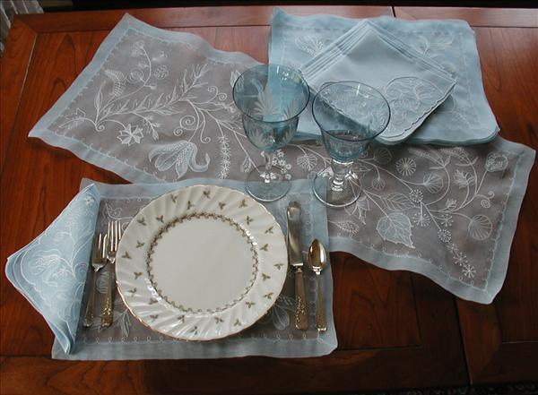 Organdy Embroidered Placemats Set Napkins Runner Blue White 1950s