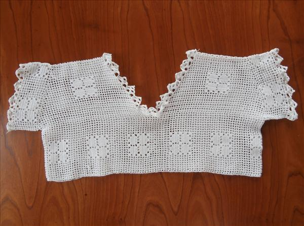Childs Lace Nightgown Yoke Crocheted Vintage 1910s 1920s