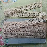 French Bobbin Lace Insertion Yardage Unused Natural Color