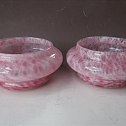 Pink Murano Art Glass Pair Bowls Vintage Mid Century Lavorazione