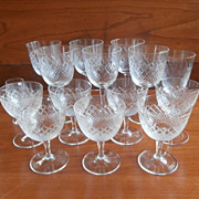 Cocktail Stemware Diamond Crosshatching Vintage Cut Glass Liquor 16 Pieces Mix of Sizes