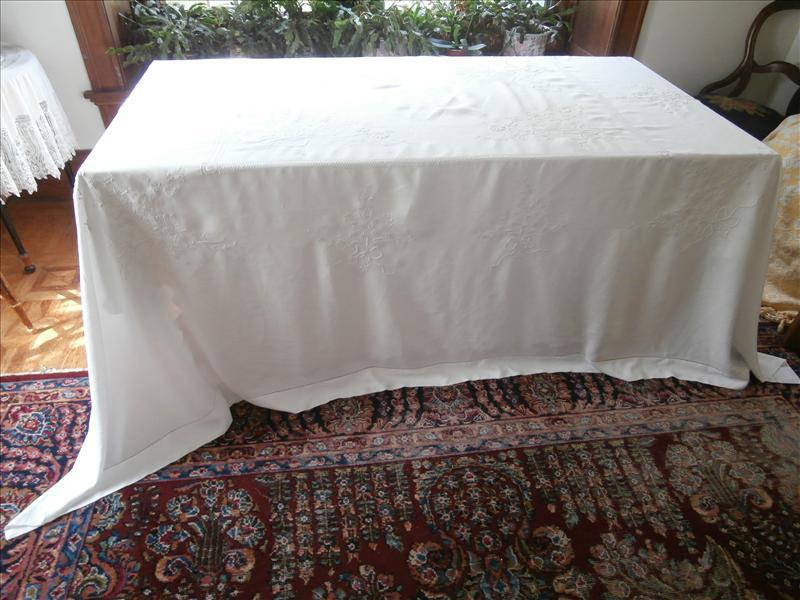 Antique French Linen Tablecloth Big Hand Embroidered Bows Flowers
