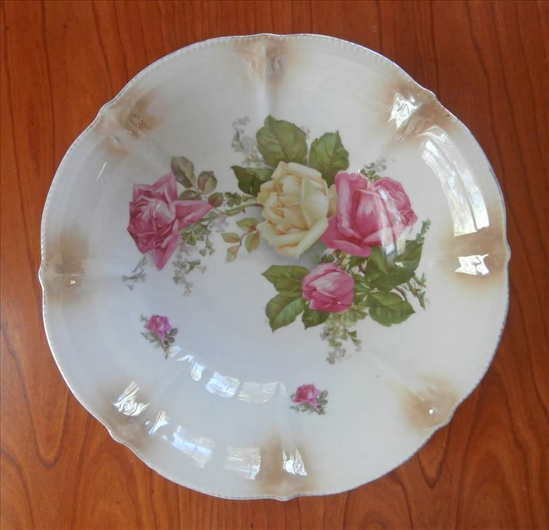 Pink Roses China Serving Bowl Antique Berry