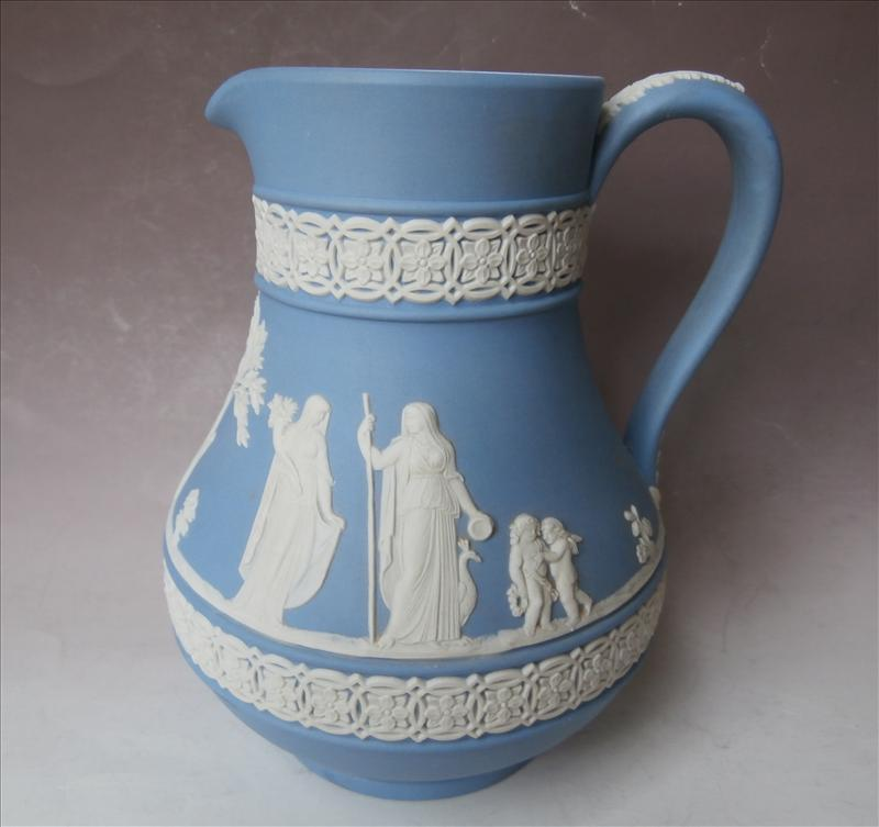 Wedgwood Jasperware Pitcher Blue White Vintage Classic