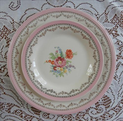 Pink Cottage China Flowered Lacy Gold Vintage Plates Partial Set