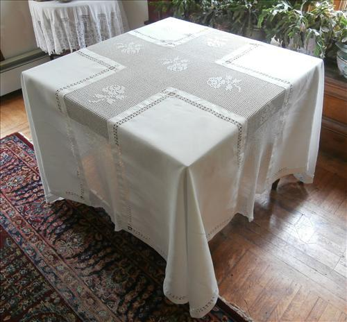 Antique French Tablecloth Square Crocheted Lace Drawn Work Monogram