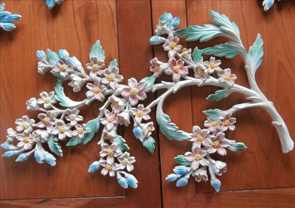Birds Wall Plaques Set 3 Dart Vintage Flower Branches