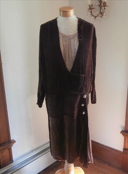 1920s Silk Velvet Dress Chiffon Rhinestones Vintage