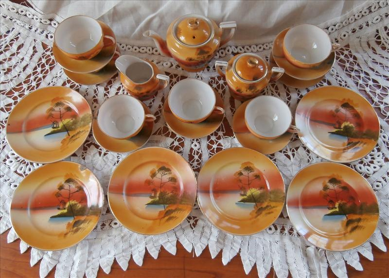 Childs Tea Set Vintage Japan Hand Painted China 1920s to 1940s