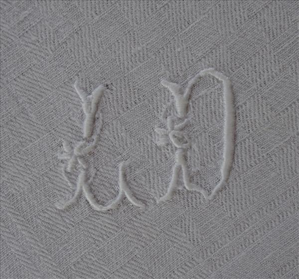 3 French Napkins Monogram L D Antique Everyday Damask
