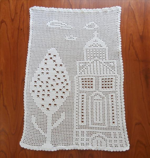 Curtain Filet Crocheted Lace Vintage Small Church Linden Tree