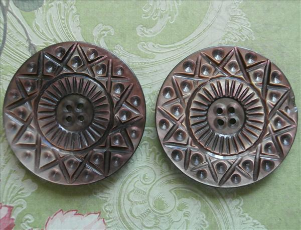 Carved Mother Of Pearl Buttons Antique 2 Big Pair Matching