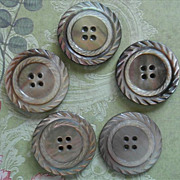 Antique Carved Mother Of Pearl Buttons Set 5 Gray