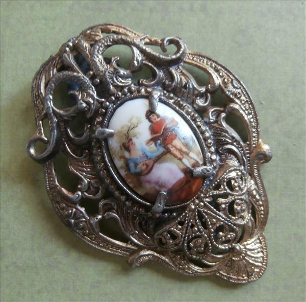 Big Dress Clip Vintage China Plaque Heavy Metal Filigree