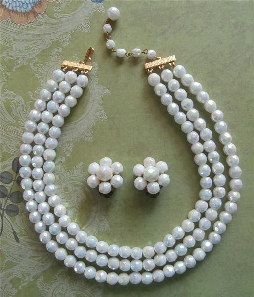 White AB Vintage Glass Beads Necklace Earrings Set
