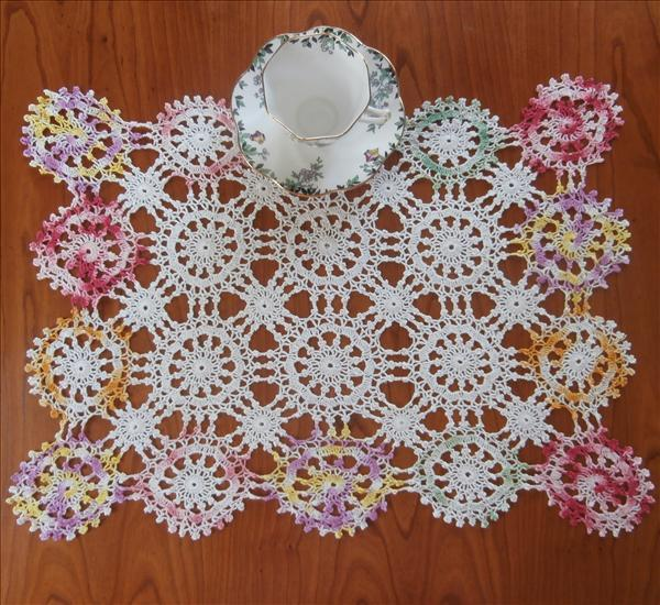 Tray Cloth Crocheted Lace Vintage Variegated Colored Edge