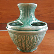 Unusual 5 Hole Pottery vase Green Glaze Handsome Vintage