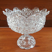 Antique Compote Tulip Rim Daisy Button Pressed Glass EAPG