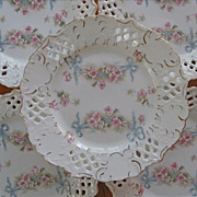 Bows Roses Reticulated China 6 Plates Pierced Antique