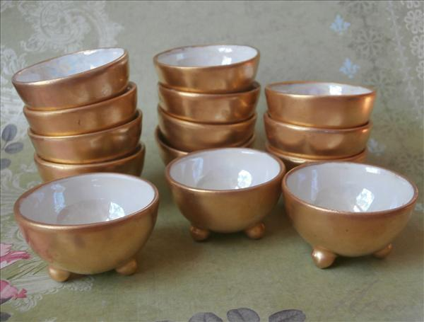 14 Salt Dishes Gold Hand Painted Dips Bowls 1920s Luster Vintage