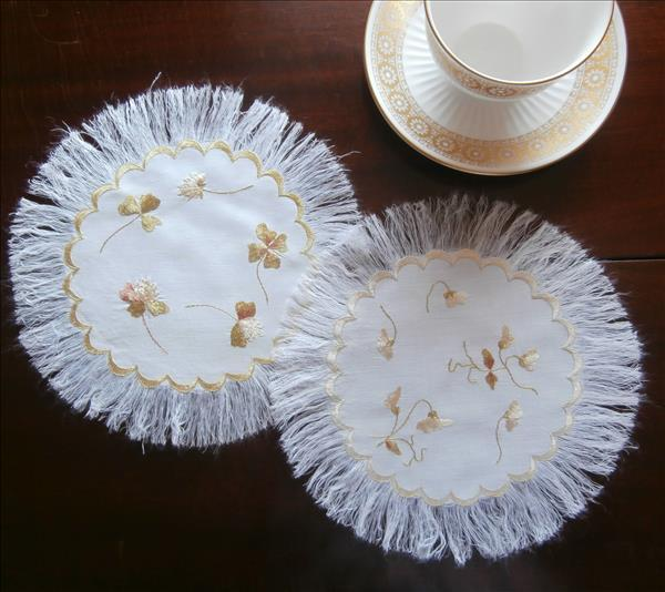 Society Silk Hand Embroidery Doilies Antique Linen Doily Fringed Pair