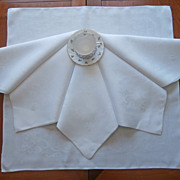 Monogram H W Napkins Linen Damask Antique 6 Large Roses Weave Motif
