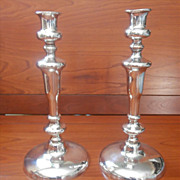 Old Sheffield Pair Candlesticks Antique to Vintage Silver On Copper - Red Tag Sale Item