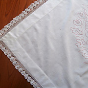 Monogram J C Redwork Embroidery Antique Lace Layover Sham Tea Tablecloth TLC