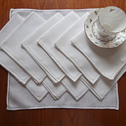 Breakfast Napkins Italian Hemstitching  11 Vintage 1920s Linen