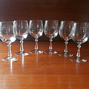 Wine Glasses Stemware Vintage Set 6 Engraved Glass High Quality