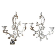 Candle Sconces Syroco Vintage 1959 Pair Unused Tags White Gold