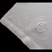 Monogram H L Towel Antique 1910s Linen Damask