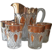 Antique Pressed Glass Loops Drops New Jersey Pitcher Tumblers Set