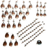 Chandelier Prisms Faceted Ball Bead Chain Set Vintage Fancy Brass Connectors