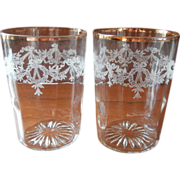 Antique Tumblers Glasses Bows Garlands Etched Tumblers Antique 1910s Shabby Gold