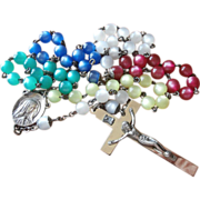 Rosary Lucite Moonglow Beads Multicolor Vintage Plastic Metal