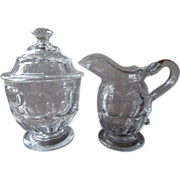 Ashburton Flint EAPG Glass Creamer Covered Sugar Bowl Set Antique
