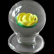 Whittemore Paperweight Yellow Crimp Rose Pedestal Base