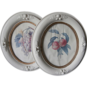 Pair Wood Gesso Oval Frames Antique Classic Fruit Leaves Molding Painted