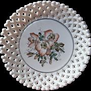 Antique Milk Glass Bowl Wild Roses Challinor Lattice Late Victorian