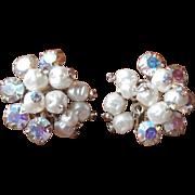 AB Rhinestone Baroque Pearl Vintage Earrings Fabulous