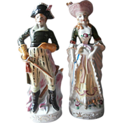 Pair Tall Figurines Vintage Japan China Lord Nelson Lady Hamilton