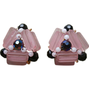 Earrings Beads Vintage 1950s Pink Black