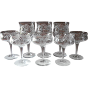 1910s Etched Crystal Stemware Antique Transitional TLC Wine Glasses Coupes