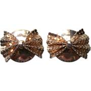 Mesh Bows Earrings Vintage Large Clip Style