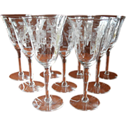 Wine Glasses Water Vintage Engraved Stemware 1940s 9