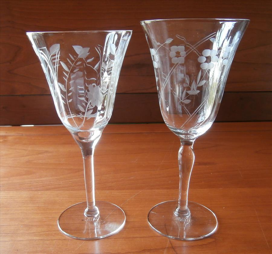 Wine Glasses Water Vintage Engraved Stemware 1940s 9 From