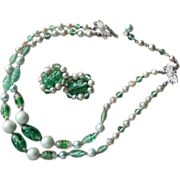 Set Green Glass Beads Necklace Earrings Vintage 1950s 2 Strand