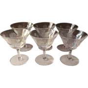 Iridescent Cocktail Glasses Roses Soap Bubble Luster Vintage Stemware